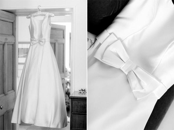 white wedding dress hanging