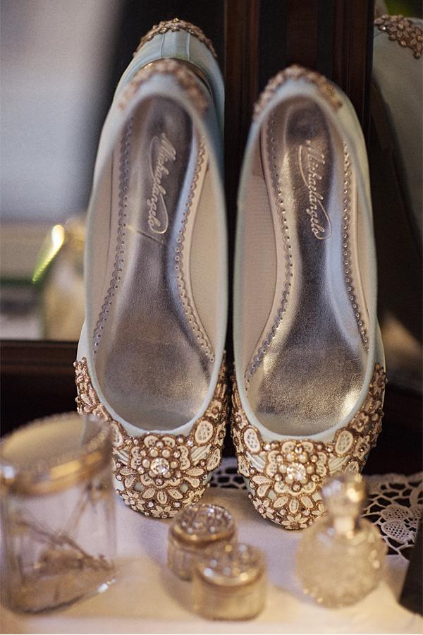 decorative flat wedding shoes
