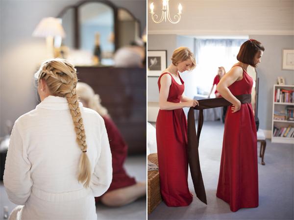 bridesmates getting ready at bearsden house