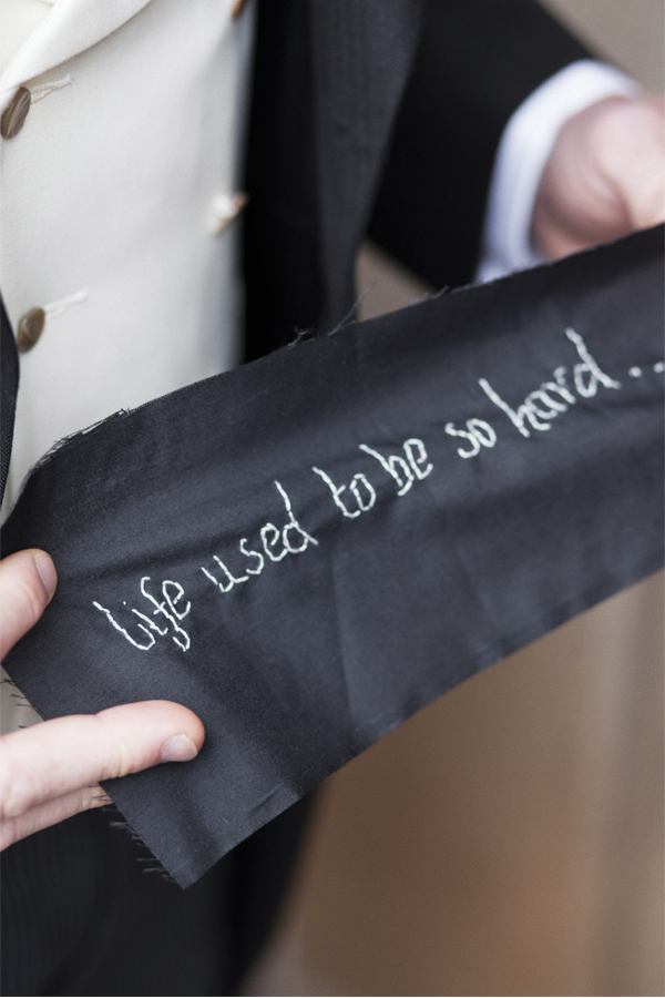 hand crafted wedding detail groom