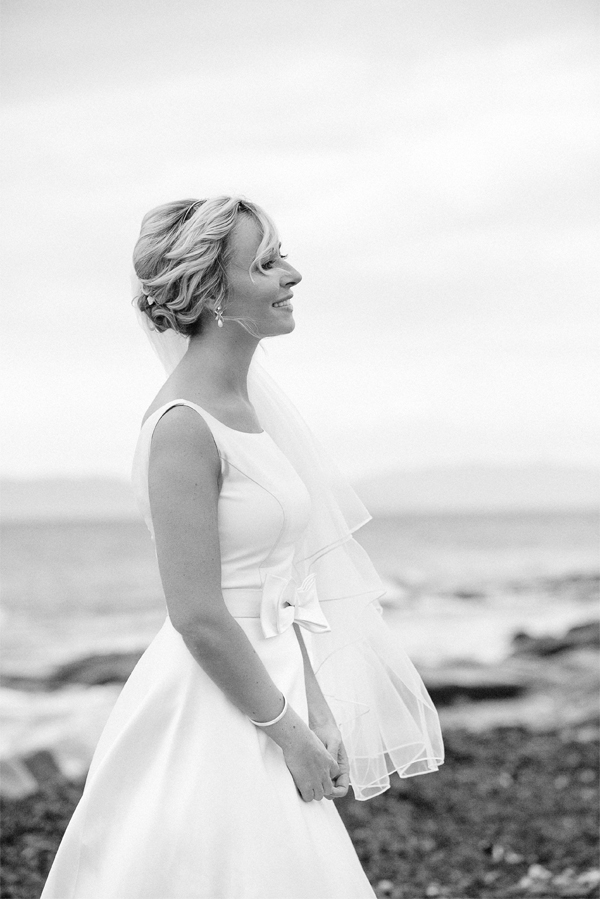 bride on a beach in scotland mull of kintyre