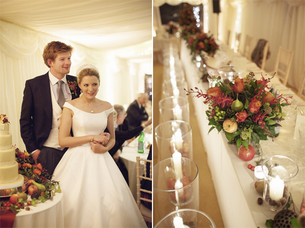 bride and groom holding hands and wedding table decoartions during christmas