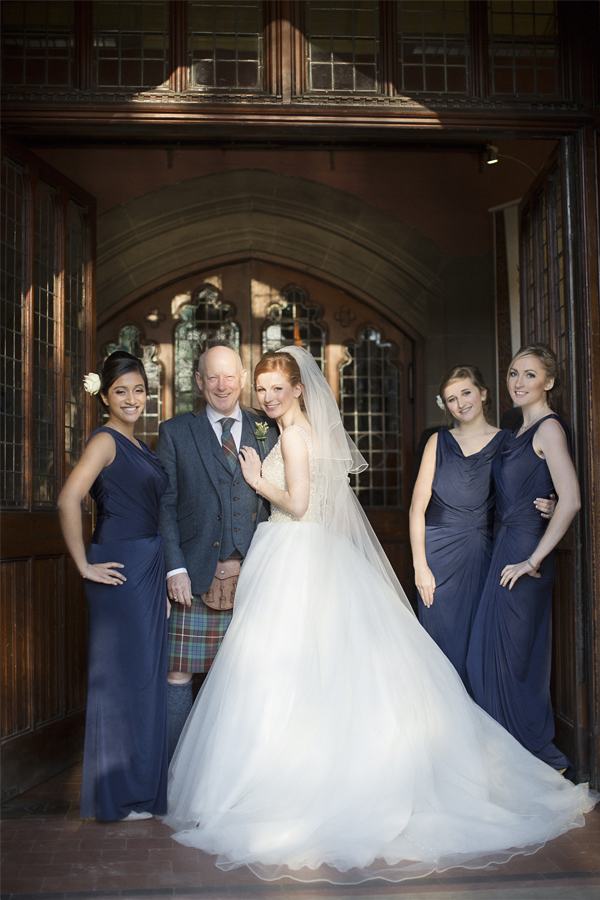 bride and bridesmates before church ceremony in glasgow