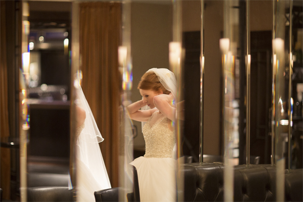 bride view in the mirrors