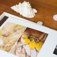 wedding album by Wedding Photographers Glasgow with wooden box and shell