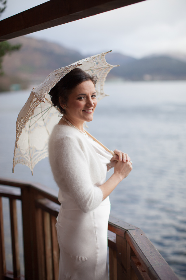 bride at treehouse at the lodge on loch goil scotland