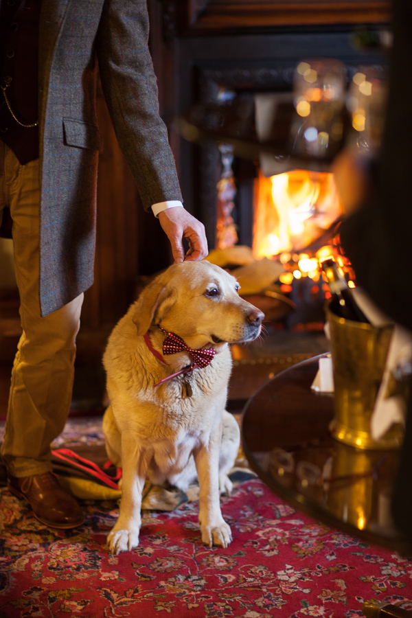 dog and groom inside the lodge on loch goil scotland