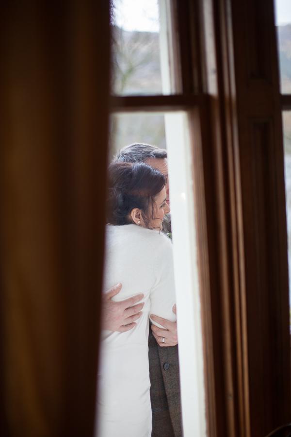newlyweds embraced