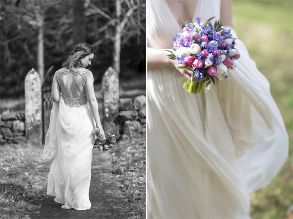 wedding photos Blairquhan Castle flowers and back of the dress