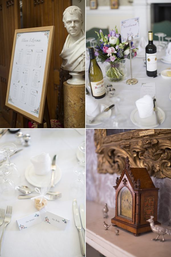 weddingg details at Blairquhan Castle