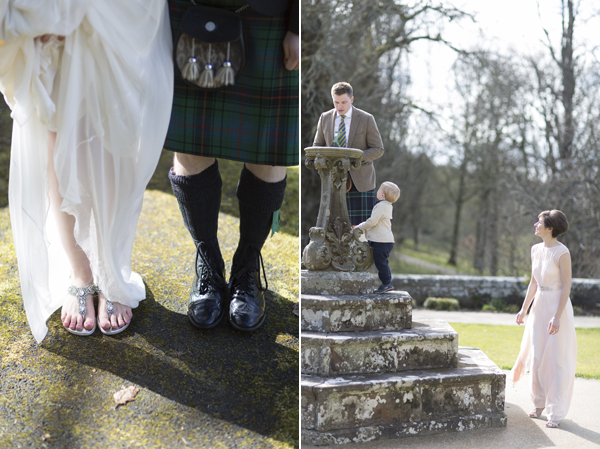 weddign shoes and guests playing at Blairquhan Castle wedding