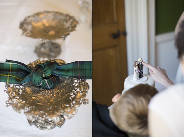 wedding knot detail and wedding cake