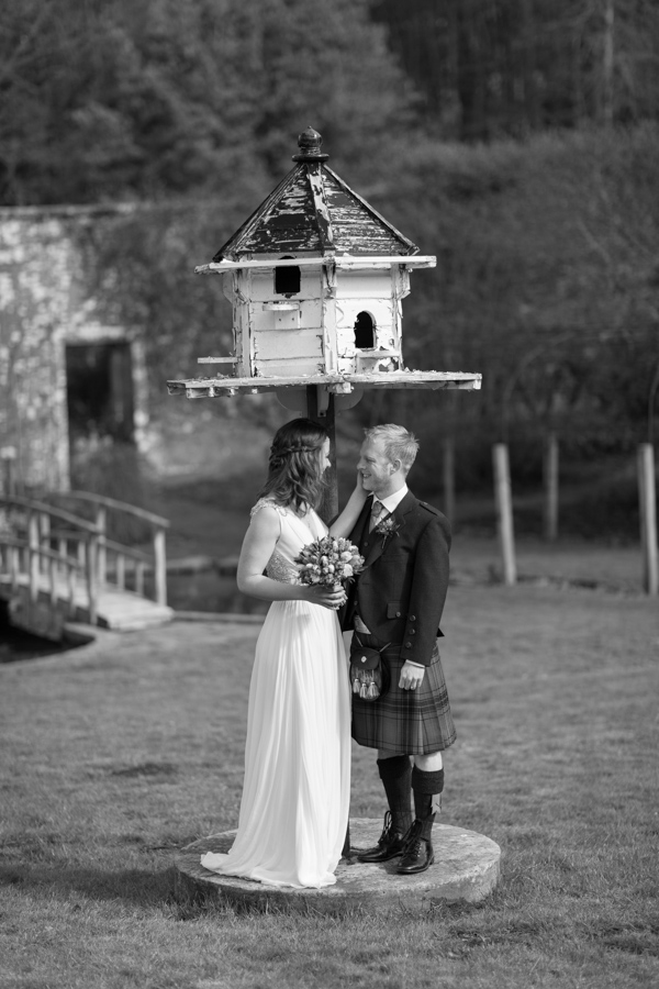 newlweds in the gardens of Blairquhan Castle
