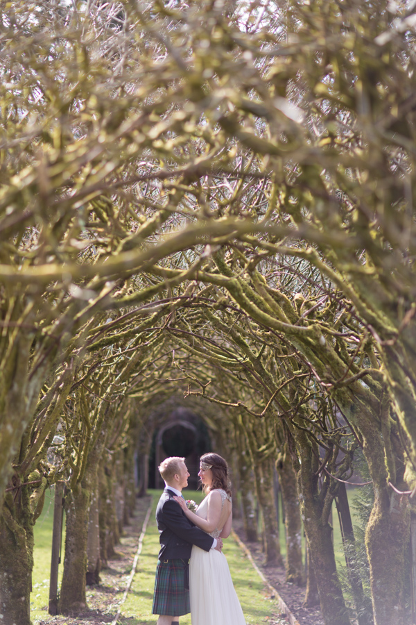 tree tunnel at Blairquhan Castle bride and groom session