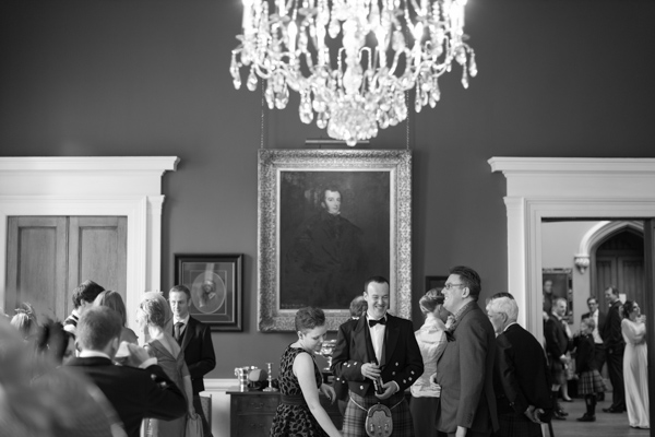 wedding guests inside Blairquhan Castle