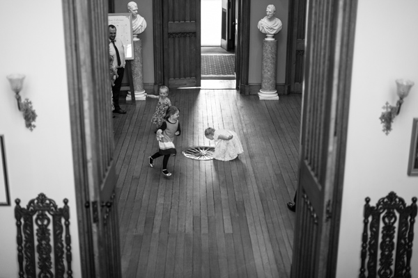 kids runing around during wedding at Blairquhan Castle