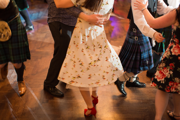 guests dancing at a scottish wedding