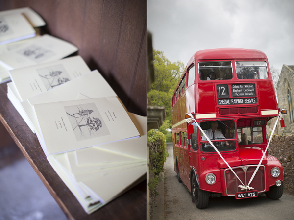 wedding invitation and bus with wedding guests