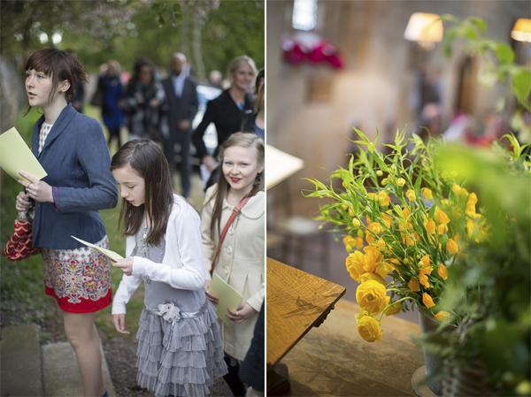 wedding guests arriving and wedding flowers near edinburgh