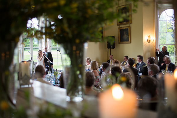 bride and groom doing a wedding speech at oxenford castle