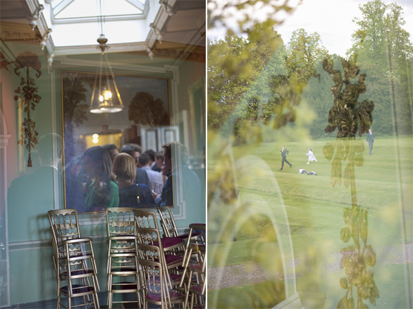 guests inside and outside oxenford castle during wedding reception