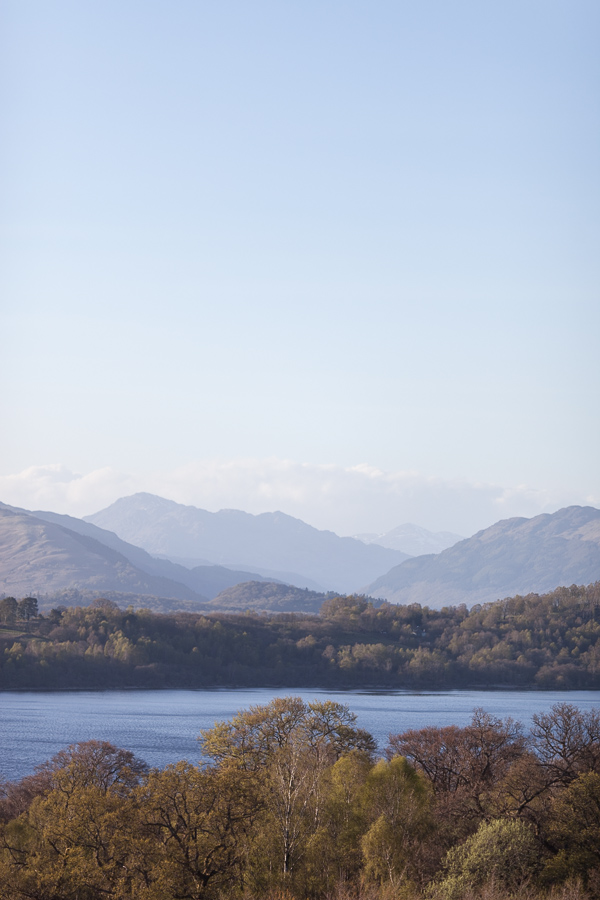 view over the mountain  and loch lomond from boturich castle wedding venue