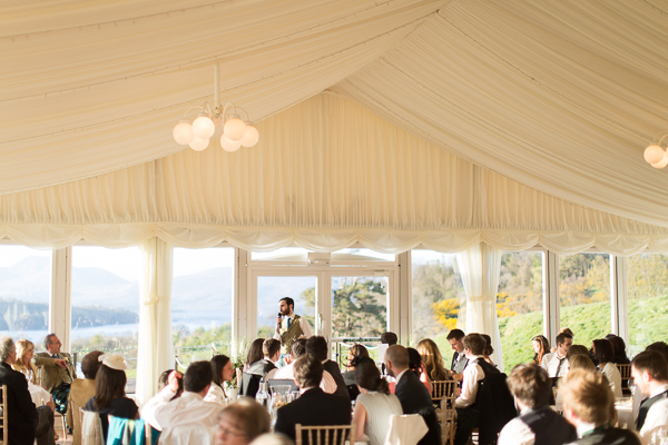 groom doing his wedding speech at boturich castle wedding marquee