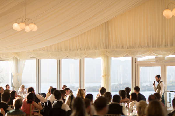 view of the room during wedding speeches