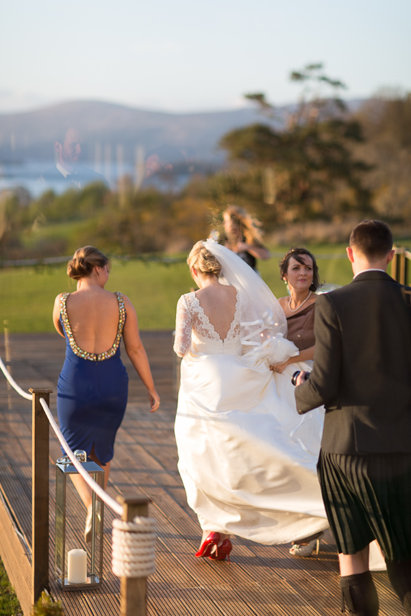 bride walking away on the deck at boturich castle