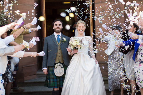 fotogenic of scotland bride and groom confetti shot