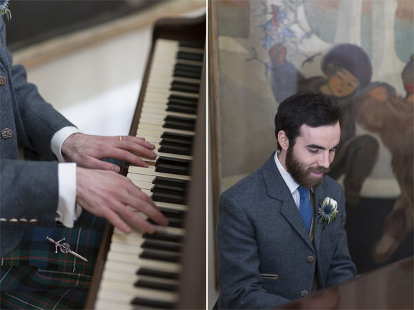 groom playing piano during wedding photo shoot at boturich castle