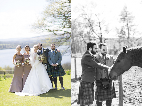 bridal party and groomsmen with a horse