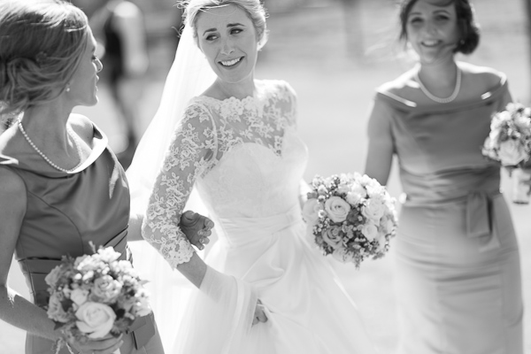 bride walking with bridesmates