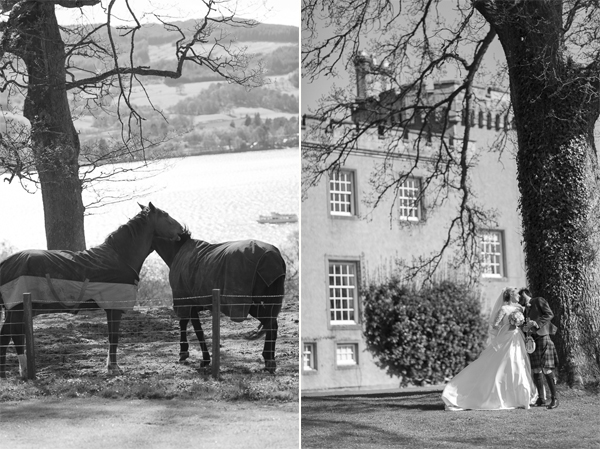horser collage with bride and groom boturich castle wedding photos scotland