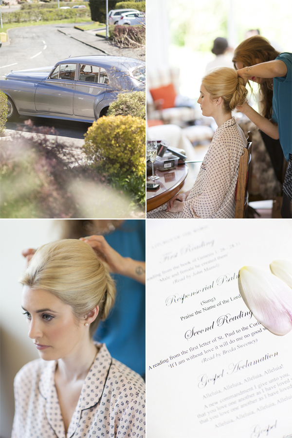 wedding car arriving wedding invitations and bride having her hair done collage