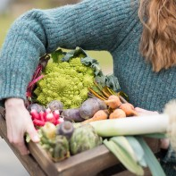 food photography glasgow girl holding local vegatables