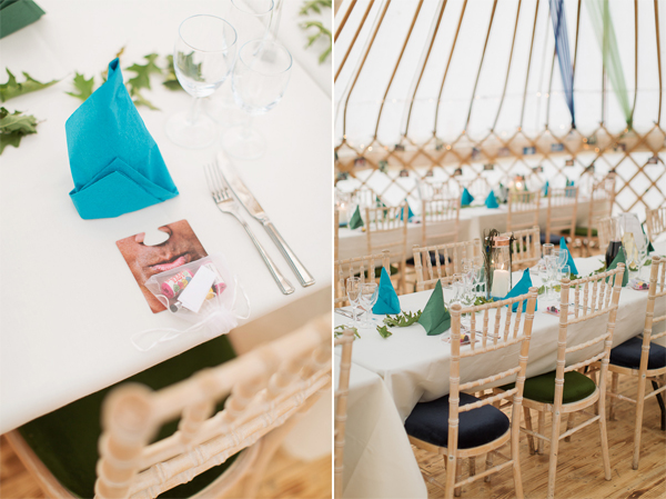 table details and inside wedding tipi tent