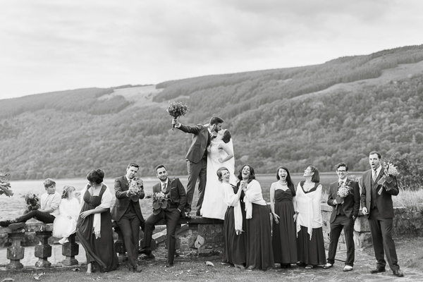 funny bridal party photo by glasgow photographers at loch fyne