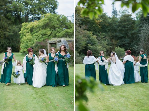 bridesmates with bride walking in teh garden at scottish castle garden