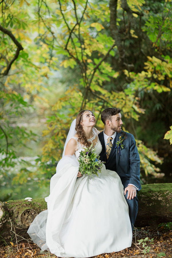 married couple in a forest during wedding photo session with fotogenic of scotland