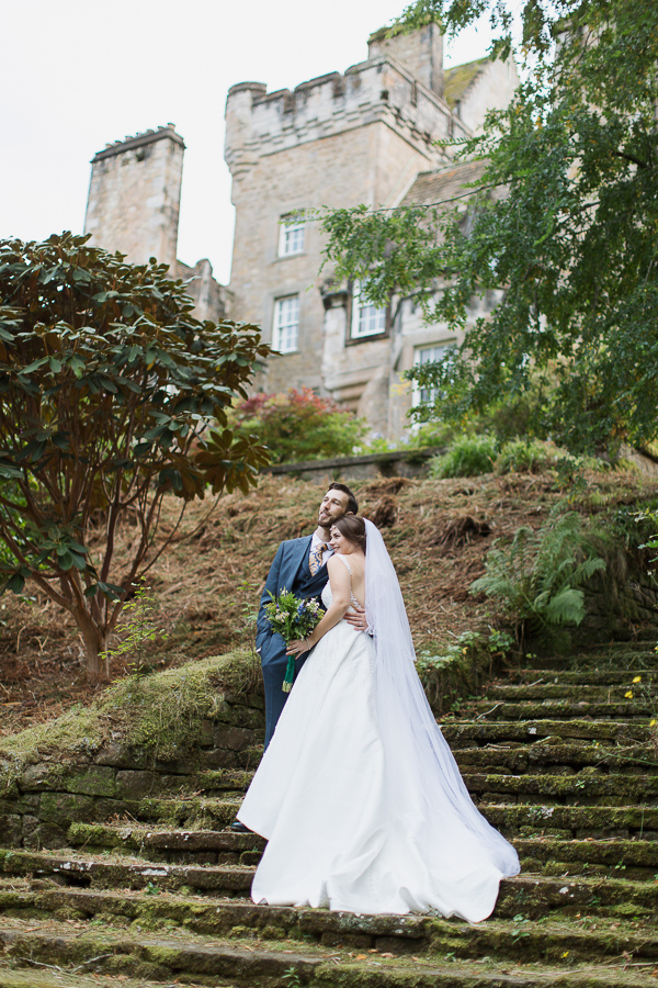ardkinglas wedding photographer bride and groom on long stairs