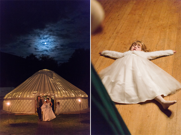 bride outside tipi tent and flower girl funny picture