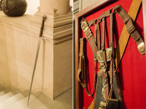 interior details at ardinglas, sword and armor