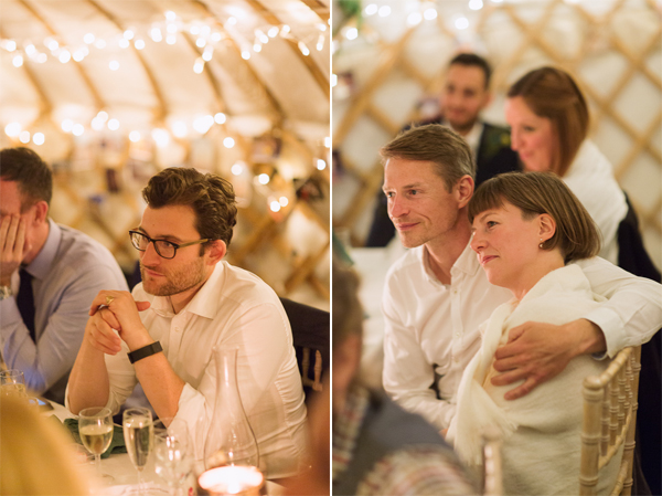portraits of guests during wedding speeches
