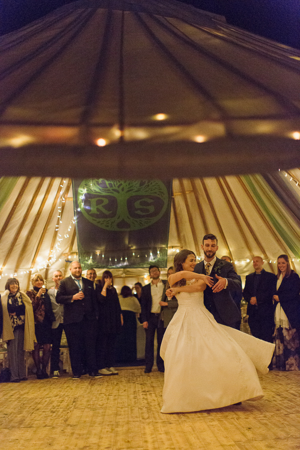 first dance at tipi tent in scotland wedding venue