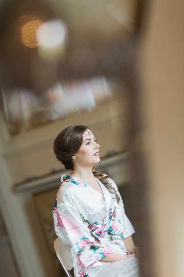 mirror reflection bride in oriental robe