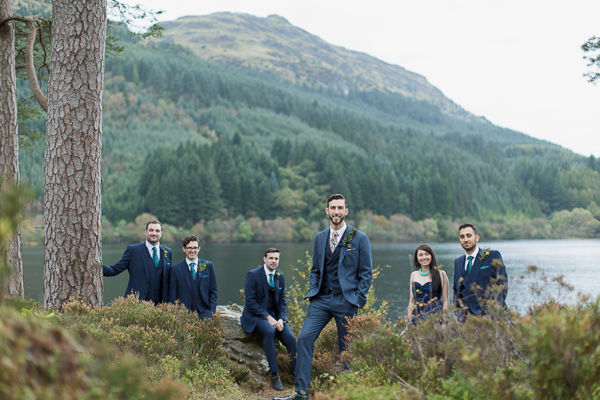 grooms party in scotand loch eck ceremony