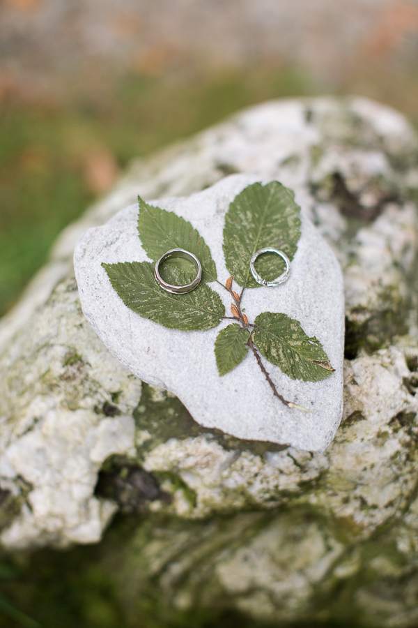 wedding rings on a rock with dried leaves