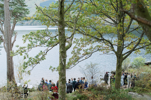 outdoor ceremony set up in scotland with view