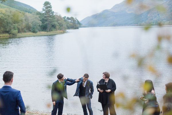 groom and best man at outdoor ceremony in scotland